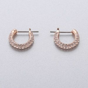 Swarovski Stone Pierced Earrings, White,Gold